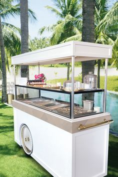 Lion's Wood Ice Cream Carts are for the customer who really wants to wow their guests. Built to last, these carts have thousands of finish options and can be customized to your liking. Food Stall Design, Food Cart Design, Food Truck Design, Kiosk Design, Store Design, Candy Store Display, Coffee Shop Counter, Starting A Coffee Shop, Food Kiosk