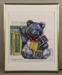 """VANHORNE EHRLICH, """"FAO SCHWARZ BEAR,"""" WATERCOLOR Annual Holiday Auction 