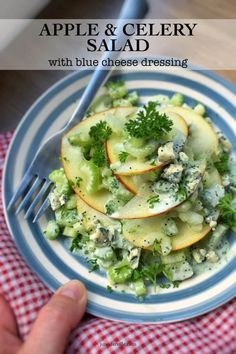 What a fancy looking apple and celery salad this one is! Look at that delicious homemade creamy blue cheese dressing drizzled on top, epic. A family favorite! Easy Salad Recipes, Vegetarian Recipes Easy, Vegetable Recipes, Cooking Recipes, Healthy Recipes, Diet Recipes, Healthy Foods, Side Dishes Easy, Side Dish Recipes