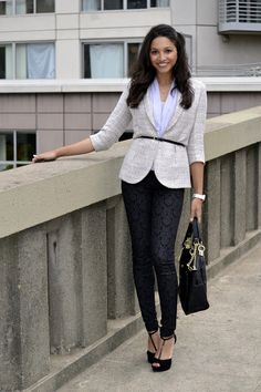 Britt+Whit: Britt in a belted tweed blazer and printed pants