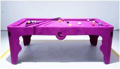 Pool table with a more feminine style.