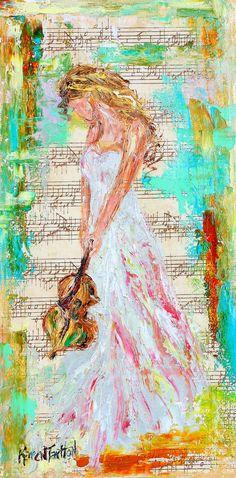 Violin painting original oil musical series  by Karensfineart