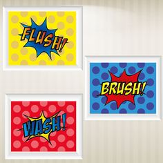 Set of 3 Super Hero Comic Style Pop Art Prints by CinemiDesigns, $25.00
