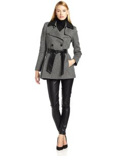 Via Spiga Womens Tweed Wool Coat with Faux-Leather Collar | Rouland Fashion