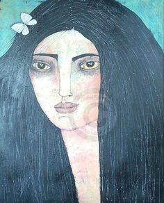 LA SOÑADORA - Pintura,  50x60 cm ©2013 por almudena arias parera -                                                            Pintura contemporánea, Lienzo, Mujeres, MUJERES                                                                                                                                                                                 Más