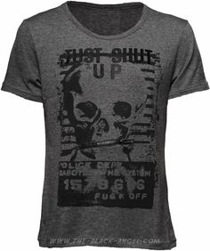 Grey goth t-shirt for men, with skull and stripes print, by Queen of Darkness.