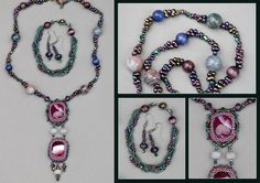 Kit Viola: necklaces, earrings, bracelet. Japanese seed beads, stones, crystals, beads.
