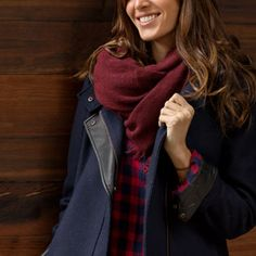 Stitch Fix on Pinterest: Woman in blue jacket with red scarf