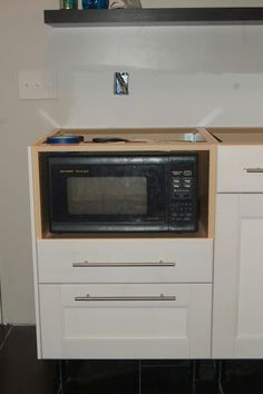ikea under counter microwave cabinet Built In Microwave Cabinet, Kitchen Cabinets, Kitchen Remodel, Kitchen, Kitchen Dining Room, Kitchen Redo, Base Cabinets, Farmhouse Kitchen, Kitchen Renovation