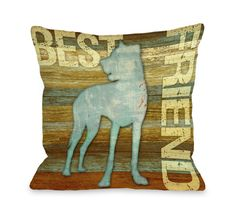 Doggy Décor Best Friend Wood Throw Pillow