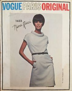 VPO 1623 Nina Ricci Dress 60's  1Pc Dress.Loose-fitting.Short kimono sleeves & square seaming detail on front & back.Stand away bias rolled collar.Slanted welt pockets. Purchased or self-fabric belt. Sz14/34/36 c/c 9 pcs.sld 13.48+fr 4bds 3/3/15