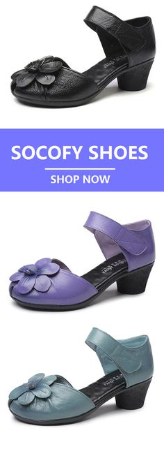UP TO 45% OFF! SOCOFY Flower Block Hoop Loop Soft Leather Sandals.Worldwide Shipping.Size From US 5 To US 10.Black,Purple And Light Blue Colors For Options.#Newchic#SOCOFY#Shoes#Fashion#Vintage