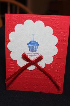 Happy Birthday Cupcake-red