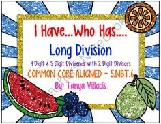 """This common core aligned purchase contains 24 """"I have…who has…"""" cards for 4 & 5 digit dividends divided by 2 digit divisors with remainders. This activity is perfect for small group instruction or as a center activity. Simply print, cut, and"""