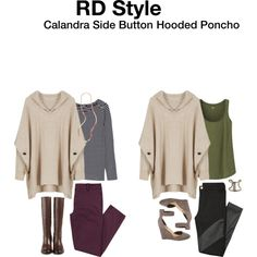 RD Style Calandra Side Button Hooded Poncho