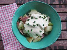 Low Carb Rezepte von Happy Carb: Bratkohlrabi mit Kochkäsecreme - Einfache günstige Alltagsküche auf odenwälderisch.