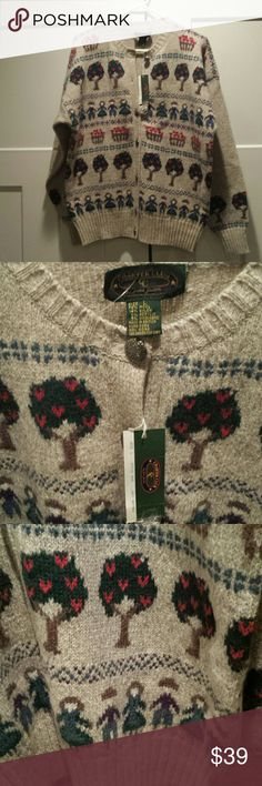 """NWT Charter Club wool blend cardigan L Cherry tree, baskets, and cute little knit people.  NWT and extra button.  76% wool; 14% nylon; 5% other.  Dry clean only.  26"""" top to bottom;  23"""" arm pit to arm pit;  21"""" arm pit to end of sleeve;  21"""" shoulder seam to end of sleeve;  10"""" neckline to shoulder seam. Classic cute. Charter Club Sweaters Cardigans"""