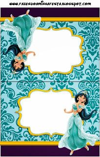 Jasmine and Aladdim - Full Kit with frames for invitations, labels for snacks, souvenirs and pictures! Jasmin Party, Princess Jasmine Party, Princess Theme Party, Disney Princess Party, Princess Birthday, Jasmine E Aladdin, Disney Jasmine, Aladdin Birthday Party, Aladdin Party