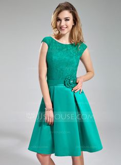 Bridesmaid Dresses - $119.99 - A-Line/Princess Scoop Neck Knee-Length Satin Lace Bridesmaid Dress With Beading Flower(s) (007019644) http://jjshouse.com/A-Line-Princess-Scoop-Neck-Knee-Length-Satin-Lace-Bridesmaid-Dress-With-Beading-Flower-S-007019644-g19644