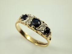 Sapphire Diamond Ring - Vintage Engagement Ring, 3 Stone by BelmontandBellamy on Etsy