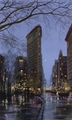 Flatiron. Rain. NYC[Paintings] | Evgeny Lushpin