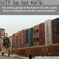 Garage of a public library in Kansas looks like a giant bookshelf - WTF fun facts