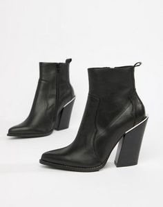 e42b8a0064f7 ASOS DESIGN Premium leather elka western ankle boots High Ankle Boots,  Leather Ankle Boots,