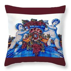 Throw Pillow featuring the photograph Portuguese Azulejos 02 by Dora Hathazi Mendes #homedecor #throwpillow #dorahathazi #tiles #portugal