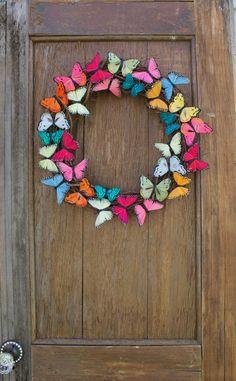 Spring Wreath Butterfly Wreath Butterfly Summer Wreath Colorful Wreath Butterfly Decor Front D Spring Door Wreaths, Summer Wreath, Wreaths For Front Door, Front Doors, Wreath Crafts, Diy Wreath, Diy Crafts, Wreath Ideas, Couronne Diy