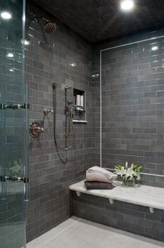 5 Sharing Tips AND Tricks: Shower Remodeling On A Budget How To Paint shower remodel before and after sinks.Shower Remodeling Ideas Before And After corner shower remodel shelves. Gray Shower Tile, Subway Tile Showers, Shower Floor, Subway Tiles, Bathroom Showers, Tiled Bathrooms, Grey Tiles, Diy Shower, Tiled Showers