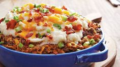 Load this shepherd's pie with your favorite bacon cheeseburger toppings for a fun twist on dinner the whole family will love.