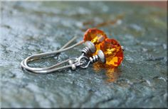 Tangerine Dreams Earrings / Hand Wire Wrapped Earrings / silver crystal earrings / Swarovski Crystal Drop Earrings / Bridesmaid gift jewelry...