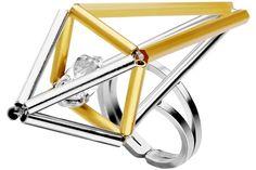 Bague Raijin, métallisation en argent, cristal Swarovski, réglable Delphine-Charlotte Parmentier