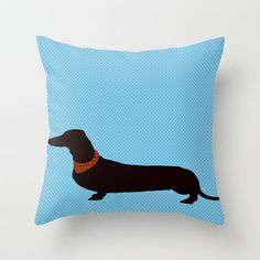 "Dachshund on blue Throw Pillow 18""X18"" - Dachshund pillows, dog pillows, decorative throw pillows, novelty throw pillows on Etsy, $57.18 AUD"