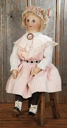The Blackler Collection (Part 2 of set): 395 Very Expressive American Cloth Folk Doll with Oil-Painted Features Victorian Dolls, Antique Dolls, Vintage Dolls, Doll Clothes Patterns, Doll Patterns, Clothing Patterns, Ragamuffin, Doll Painting, Old Dolls
