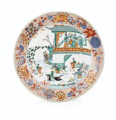 A LARGE FAMILLE VERTE AND IMARI DISH, QING DYNASTY, KANGXI PERIOD 54 cm