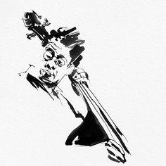 Late night jazz drawing. -----------------------------------#illustration #illustrationink #illustrationartists #illustrator #illustrationart #urbanart #illustrationgram #inked #illustrationfashion #erigriffin #inkillustration #blackink #penandink #illustrationwork #blackandwhiteart #inkguide #sketchbook #CreativeEdi #inkfeature #inkart #sketches #inkonpaper #linedrawing #indianink #ink #jazz #jazzart #bookillustration #cello #music Ink Illustrations, Illustration Artists, Photo Illustration, Jazz Painting, Jazz Art, Black And White Illustration, Music Posters, Ink Art, Urban Art