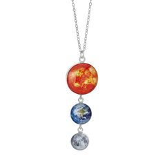 Earth, Moon and Sun Sterling Silver Necklace | outer space | UncommonGoods