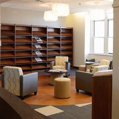 Newspapers on the shelf and cozy chairs. Who is ready to check out the new library in the Dominican Ctr at MSMC? #msmcny #library