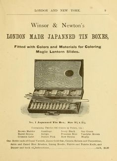 Illustrated price list of artists' materials.
