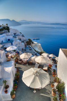 Hoteles con vista a la Caldera desde Firostefani. Islas Cícladas, Grecia
