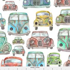 1 yard (or 1 fat quarter) of Vintage Cars by designer elena_oneill_illustration_. Printed on Organic Cotton Knit, Linen Cotton Canvas, Organic Cotton Sateen, Kona Cotton, Basic Cotton Ultra, Cotton Poplin, Minky, Fleece, or Satin fabric.  Available in yards and quarter yards (fat quarter). This fabric is digitally printed on demand as orders are placed. Unlike conventional textile manufacturing, very little waste of fabric, ink, water or electricity is used. We print using eco-friendly…