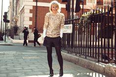 Carrie Gorman - ELLEuk.com Editor Barneys New York jumper, Whistles t-shirt, Maje shorts, Christian Louboutin shoes