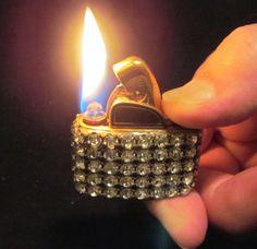 Evans Gold Rhinestone Lighter 1950's Working Lighter Mad Men Bling Excellent Condition