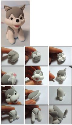 Tutoriel : Comment faire un chien kawaii en Fimo - How to make a kawaii dog in Fimo - do Diy Fimo, Crea Fimo, Fimo Clay, Polymer Clay Projects, Polymer Clay Charms, Polymer Clay Creations, Clay Crafts, Polymer Clay Disney, Fondant Figures
