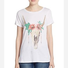 ✨Wildfox Dahlia Graphic Tee One of my all time favorites! This one is NWT. Romantic vintage inspired graphics of a bull with dahlias on her head. Color: white/ multi.100% cotton. Wildfox Tops Tees - Short Sleeve