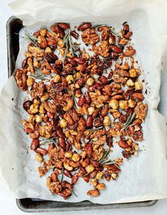 Candied Spiced Nuts Recipe (These spiced nuts are simple, sophisticated, and sweetly savory with rosemary, ginger, cinnamon, paprika, and cumin. Perfect with cocktails.)