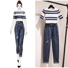Women Summer O-neck Short Sleeve Casual Stripe Slim Knitted T-shirt + High Waist Ripped Cropped Pants Two Piece Set Source by outfits sketches Teen Fashion Outfits, Cute Fashion, Look Fashion, Casual Outfits, Cute Outfits, Casual Shirt, Fashion Drawing Dresses, Fashion Dresses, Mode Ulzzang