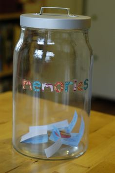 Memory Jar, each time something memorable happens, write it on a piece of paper with the date and put in jar. Like yesterday, when Isaiah took his diaper off without unbuttoning the onesie and nobody knew til he peed and it ran down his leg!!! When spouse returns from deployment they get to read it.