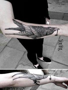 #tattoo #blackandwhitetattoo #raventattoo #raven